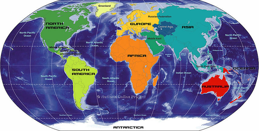 map of 7 continents and oceans